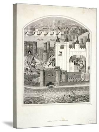 Charles Duc D'Orleans Imprisoned in the Tower of London with London Bridge in the Background, 1803-James Basire II-Stretched Canvas Print