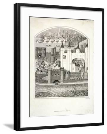 Charles Duc D'Orleans Imprisoned in the Tower of London with London Bridge in the Background, 1803-James Basire II-Framed Giclee Print