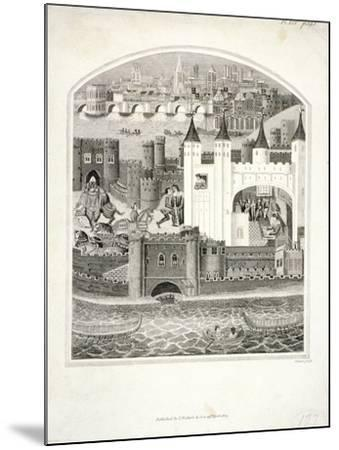 Charles Duc D'Orleans Imprisoned in the Tower of London with London Bridge in the Background, 1803-James Basire II-Mounted Giclee Print