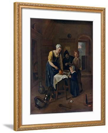 A Peasant Family at Meal-Time ('Grace before Meat), C1665-Jan Steen-Framed Giclee Print