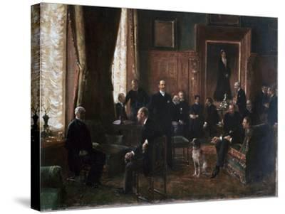 The Salon of the Countess Potocka, 1887-Jean Beraud-Stretched Canvas Print