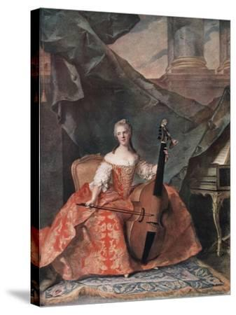 Madame Henriette De France in Court Costume Playing a Bass Viol, 1754-Jean-Marc Nattier-Stretched Canvas Print