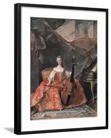 Madame Henriette De France in Court Costume Playing a Bass Viol, 1754-Jean-Marc Nattier-Framed Giclee Print
