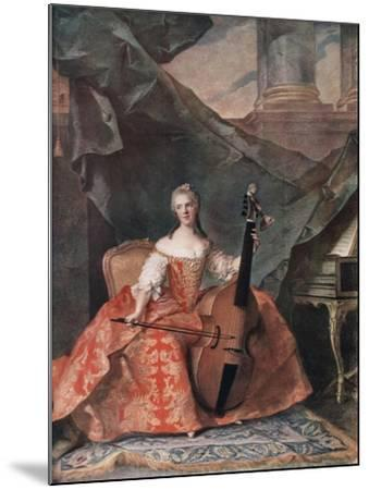 Madame Henriette De France in Court Costume Playing a Bass Viol, 1754-Jean-Marc Nattier-Mounted Giclee Print
