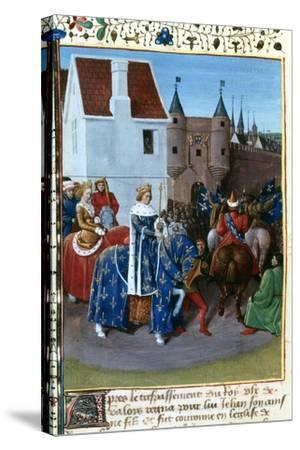 Entry of John II to Paris, 14th Century, (1455-146)-Jean Fouquet-Stretched Canvas Print