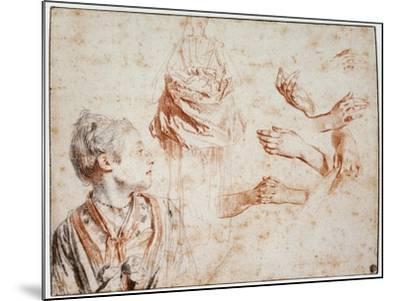 Study, 1716-1718-Jean-Antoine Watteau-Mounted Giclee Print
