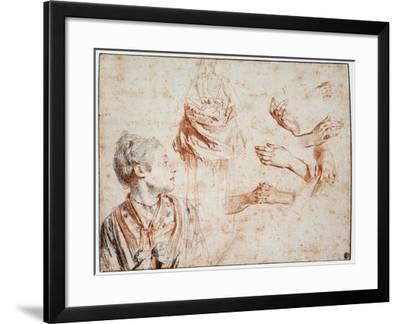 Study, 1716-1718-Jean-Antoine Watteau-Framed Giclee Print