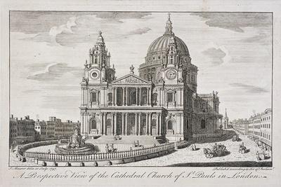 St Paul's Cathedral Exterior, London, 1747-John Maurer-Framed Giclee Print