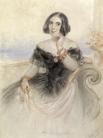 Lady in a Black Dress, 1847-John Hayter-Framed Giclee Print