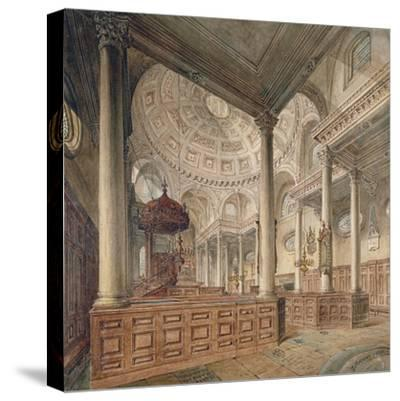 Interior View of the Church of St Stephen Walbrook, City of London, 1811-John Coney-Stretched Canvas Print