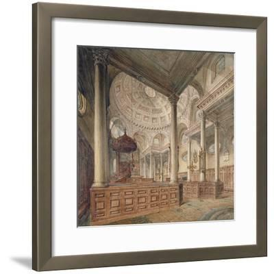 Interior View of the Church of St Stephen Walbrook, City of London, 1811-John Coney-Framed Giclee Print