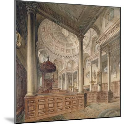 Interior View of the Church of St Stephen Walbrook, City of London, 1811-John Coney-Mounted Giclee Print