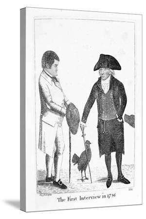 The First Interview in 1786' Between Deacon Brodie and George Smith, 1788-John Kay-Stretched Canvas Print