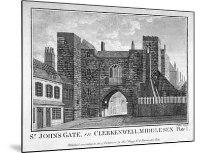 View of St John's Gate, Clerkenwell, London, C1790-John Peltro-Mounted Giclee Print