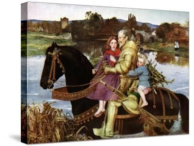 Sir Isumbras at the Ford, C19th Century-John Everett Millais-Stretched Canvas Print