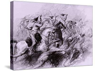 A Cavalry Charge, 1849-John Gilbert-Stretched Canvas Print