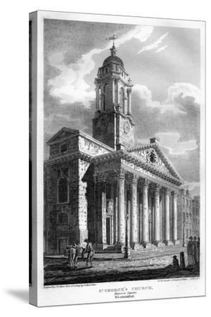 St George's Church, Hanover Square, Westminster, London, 1810-John Le Keux-Stretched Canvas Print