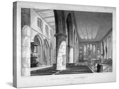 All Hallows-By-The-Tower Church, London, C1837-John Le Keux-Stretched Canvas Print