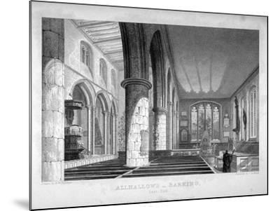 All Hallows-By-The-Tower Church, London, C1837-John Le Keux-Mounted Giclee Print
