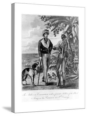 Captain Marcus Rainsford with a Private Soldier of the Black Army, 1805-John Barlow-Stretched Canvas Print