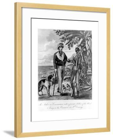 Captain Marcus Rainsford with a Private Soldier of the Black Army, 1805-John Barlow-Framed Giclee Print