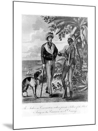 Captain Marcus Rainsford with a Private Soldier of the Black Army, 1805-John Barlow-Mounted Giclee Print