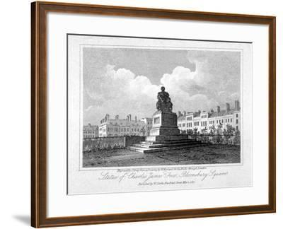 View of the Statue of Charles James Fox in Bloomsbury Square, Bloomsbury, London, 1817-John Greig-Framed Giclee Print