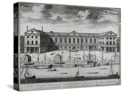 The Custom House from the River Thames, as it Was in 1714, 1715-John Harris-Stretched Canvas Print