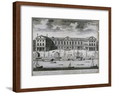 The Custom House from the River Thames, as it Was in 1714, 1715-John Harris-Framed Giclee Print