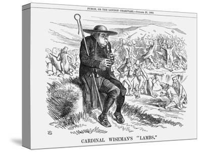 Cardinal Wiseman's Lambs, 1862-John Tenniel-Stretched Canvas Print