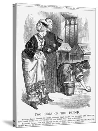 Two Girls of the Period, 1869-John Tenniel-Stretched Canvas Print