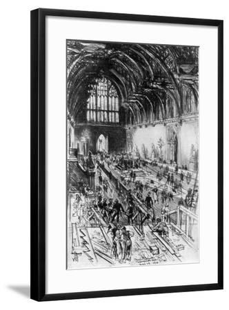 The Workmen in Possession, Westminster Hall, London, 1910-Joseph Pennell-Framed Giclee Print