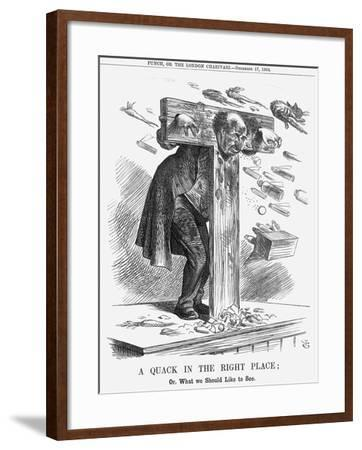 A Quack in the Right Place, 1864-John Tenniel-Framed Giclee Print