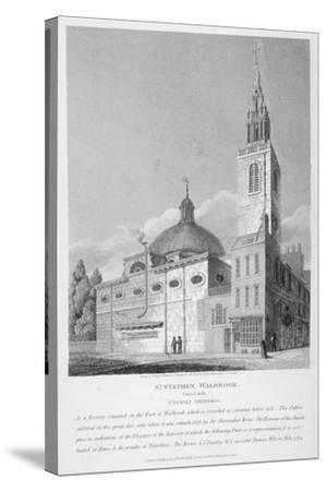 North-West View of the Church of St Stephen Walbrook, City of London, 1813-Joseph Skelton-Stretched Canvas Print