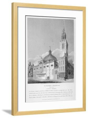 North-West View of the Church of St Stephen Walbrook, City of London, 1813-Joseph Skelton-Framed Giclee Print
