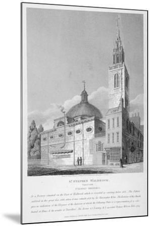 North-West View of the Church of St Stephen Walbrook, City of London, 1813-Joseph Skelton-Mounted Giclee Print