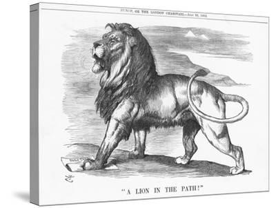 A Lion in the Path!, 1882-Joseph Swain-Stretched Canvas Print