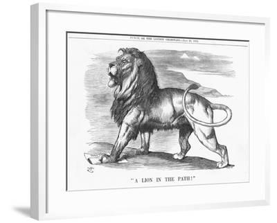 A Lion in the Path!, 1882-Joseph Swain-Framed Giclee Print