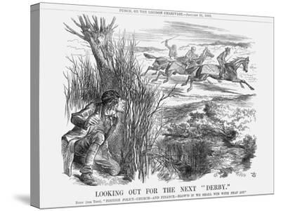 Looking Out for the Next Derby, 1863-John Tenniel-Stretched Canvas Print