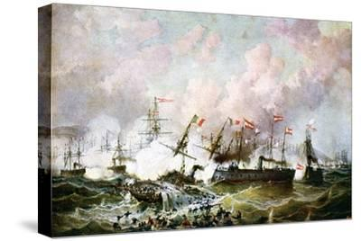 Naval Battle Between the Austrian and Italian Fleets, 1866-Josef Karl Berthold Puttner-Stretched Canvas Print