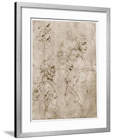 Heads of Girls, Young and Old Men, 1478-1480-Leonardo da Vinci-Framed Giclee Print