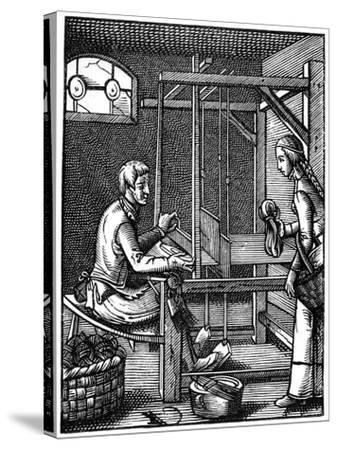 The Weaver, 16th Century-Jost Amman-Stretched Canvas Print
