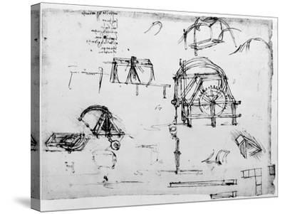 Sketch of a Perpetual Motion Device Designed by Leonardo Da Vinci, C1472-1519-Leonardo da Vinci-Stretched Canvas Print