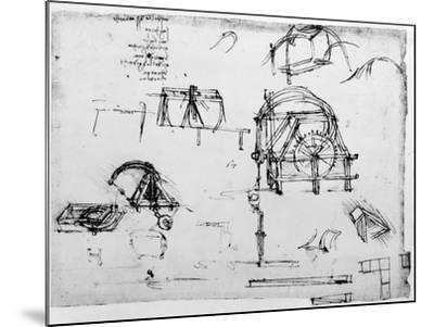 Sketch of a Perpetual Motion Device Designed by Leonardo Da Vinci, C1472-1519-Leonardo da Vinci-Mounted Giclee Print