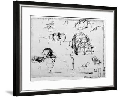 Sketch of a Perpetual Motion Device Designed by Leonardo Da Vinci, C1472-1519-Leonardo da Vinci-Framed Giclee Print