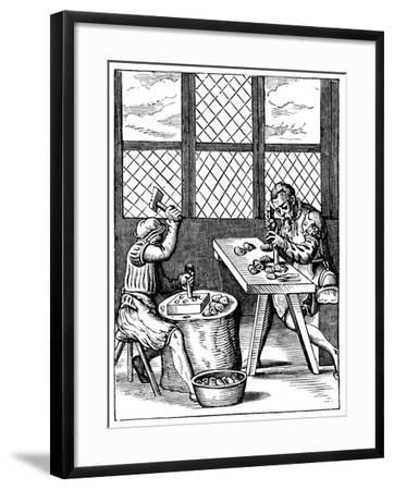 Dice Maker's Workshop, 16th Century-Jost Amman-Framed Giclee Print