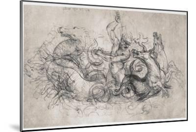 Neptune, C1504-Leonardo da Vinci-Mounted Premium Giclee Print