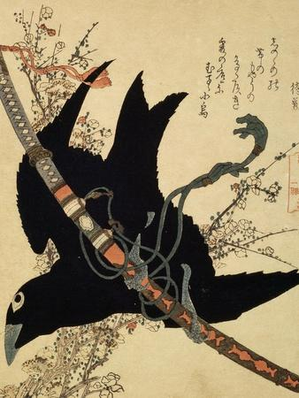 The Little Raven. Minamoto Clan Sword, C1823-Katsushika Hokusai-Stretched Canvas Print