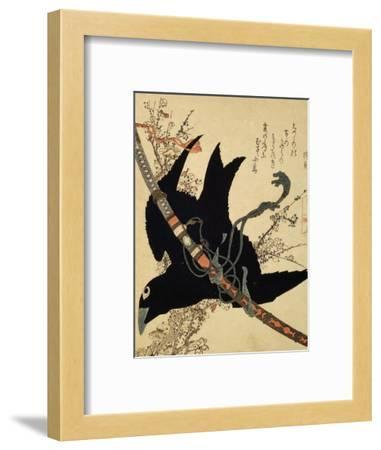 The Little Raven. Minamoto Clan Sword, C1823-Katsushika Hokusai-Framed Giclee Print