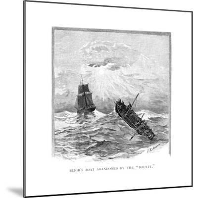 Captain Bligh's Boat Abandoned by the 'Bounty, 1789-JR Ashton-Mounted Giclee Print